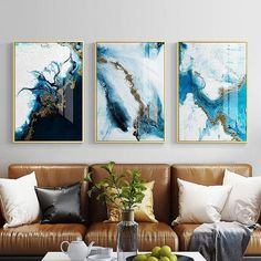 Nordic Color Spalsh Blue Golden Poster And Print Abstract Canvas Painting Modern Decor Wall Art Pictures For Living Room Bedroom Blue Abstract, Abstract Canvas, Canvas Wall Art, Ocean Canvas, Blue Canvas, Wall Prints, Painting Prints, Poster Prints, Canvas Prints
