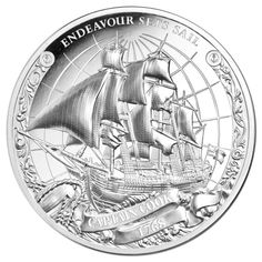 An Ultra High Relief strike and multiple finishes bring Captain Cook's first voyage to life across three pure silver coins! Silver Coins For Sale, Captain James Cook, The Endeavour, Australian Painting, World Coins, Money Matters, History Books, Geography, Sailing Ships