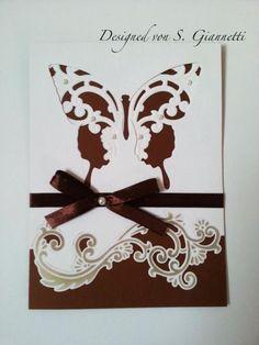 Schmetterling Butterfly Sizzix Marianne Design Einladung Einladungskarte  Hochzeit Wedding Invitation Shabby Chic Vintage Edel Elegant Geburtstag