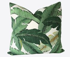 Palm Leaf Pillow Cover - Palm Pillow - Green Pillow - Tropical Pillow - Palm Tree - Banana Leaf Pillow - Willa Skye Home