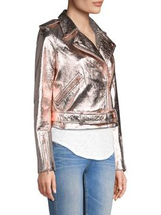 True Religion Rose Gold Leather Jacket - X-Small Metallic Jacket, Gold Leather, Leather Jacket, Rose Gold, True Religion, Spring, Jackets, Blush, Clothes