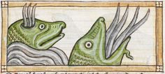 Whale detail from medieval illuminated manuscript, British Library Harley MS 3244, 1236-c 1250, f65r