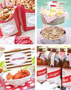 tailgating party ideas.  spring form pans and candle stick glued together.  Brilliant idea!