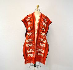 1970s Boho poncho serape / stag deer / rust by IngridIceland