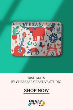 Texas Dish Mat by Cherbear Creative Studio