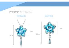 Cool Blue Flower - Necklace & Earring