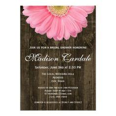 Rustic Pink Gerber Daisy Bridal Shower Invitation