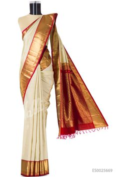 Beige Kanchipuram Silk Saree