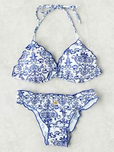 Shop Porcelain Print Frill Trim Bikini Set online. SheIn offers Porcelain Print Frill Trim Bikini Set & more to fit your fashionable needs.