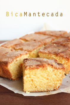 Traditional Sponge  Cake  bica mantecada ( es un dulce típico gallego original del sur de Lugo y Ourense que se hace con manteca de vaca.).Comida Española.