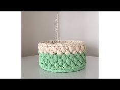 YouTube Crochet Basket Pattern, Crochet Patterns, Crochet Baskets, Crochet Yarn, Free Crochet, Crochet Storage, T Shirt Yarn, Toot, Diy And Crafts