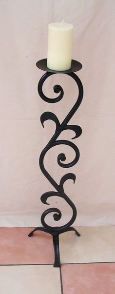 WROUGHT IRON CANDLE STICK /HOLDER LARGE H/WEIGHT in Home, Furniture & DIY, Home Decor, Candle & Tea Light Holders | eBay