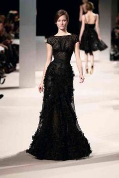 Elie Saab Sp/Su 2011 Black gown with cap sleeves