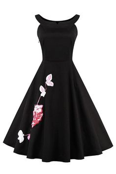 This elegant vintage swing dress is fashioned in vintage 1950s style features beautiful embroidery floral pattern on skirt. It has combining lines and a retro dress silhouette with wide scoop neckline design.  https://atomicjaneclothing.com/products/atomic-vintage-black-embroidery-floral-print-casual-dress