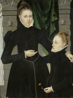 "1567 ""Lady and Girl"" by Adriaen van Cronenburg. One of 5 set in the same place, one now missing. Found in the royal collection. Prado."