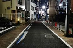 """Painted street-barrier Illusions in Tokyo, an example of """"traffic calming."""