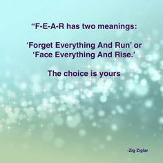 Love this-Resonse to Fear can make us or break us.....Zig Ziglar