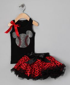 Black Mouse Tank & Red Pettiskirt - Infant, Toddler & Girls by So Girly & Twirly