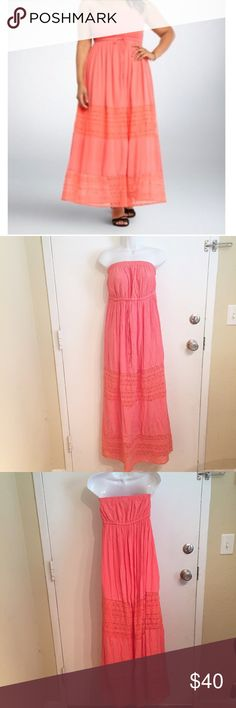 NWT Torrid Coral Maxi Dress with Lace New with $68.50 tags. Gorgeous coral Maxi Dress with lace inserts from Torrid. Torrid size 1. Strapless. Perfect for dressing up or down.  #new #nwt #torrid #coral #maxi #maxidress #strapless #vacay #vacation #plus #plussize #lace #comfy #punkydoodle  No modeling Smoke free home I do discount bundles torrid Dresses Maxi