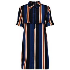 Natasha Multi Stripe Double Layer Shirt Dress (23 ZAR) ❤ liked on Polyvore featuring dresses, double layer dress, layered dress, blue stripe dress, shirt-dress and stripe dress