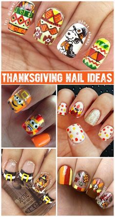 22 easy fall nail designs for short nails thanksgiving nails crafty thanksgiving nail ideas to try crafty morning nail art design prinsesfo Images