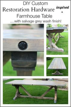 Make this DIY Restoration Hardware Inspired Table with Salvage Grey Wash Finish!  This custom design is a combination of the RH X-Base Table and the Brickmaker's Table.