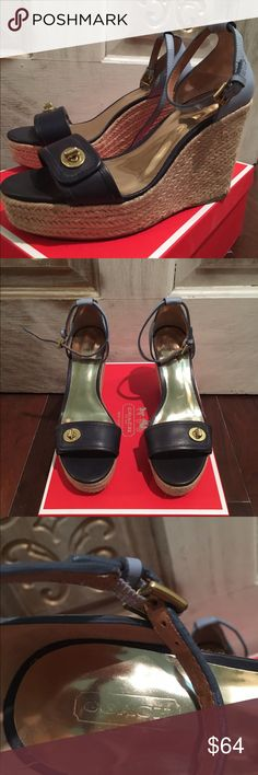 Coach Glinda vegan leather and rattan wedges Super cute ! Barely worn excellent condition! Navy and powder blue with gold accents! Coach Shoes Wedges
