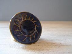 Blue Enamel Pendant Vintage Pendant Sun shaped by MeshuMaSH, $15.00