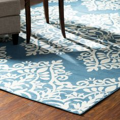 Andover Mills® Pearl Blue/Ivory Indoor/Outdoor Area Rug