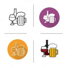 Alcohol drinks icons. Vector @creativework247