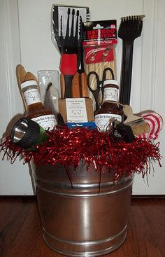 BBQ Holiday Gift Basket / Bucket from The BBQ by TheBBQPantry, $55.00  Great gift for a guy! Check out my husband's etsy shop