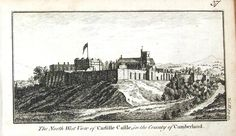A fine highly detailed little copper engraved antique print entitled THE NORTH WEST VIEW OF CARLISLE CASTLE IN THE COUNTY OF CUMBERLAND A lovely