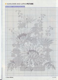 Chart sunflower and lupins Types Of Embroidery, Embroidery Designs, Cross Stitch Designs, Cross Stitch Patterns, Cross Stitching, Cross Stitch Embroidery, Cross Stitch Flowers, Basic Colors, Needle And Thread