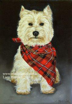5x7 Westie West Highland Terrier Dog Fine Art by studiolara316, $9.95