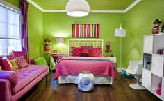 Neon Green, Hot Pink and Grape:  This space features a mix of intense warm and cool colors, with accents of white, but the bulk of the color in the room is limited to shades of either green or purple-pink. This is a great teen room.
