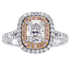 1.02 Carat GIA Cert Colorless Cushion and Pink Diamonds Platinum Halo Ring   1stdibs.com
