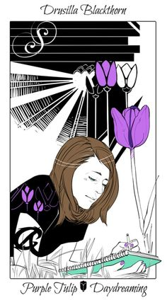 Drusilla with a purple tulip, The language of flowers (picked by C.Clare, art by C.Jean)