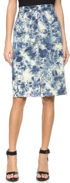 3.1 Phillip Lim Blue Splattered Denim Pencil Skirt