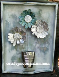 A Peaceful Bouquet for your wall, Recycled Soda Cans on repurposed wooden breakfast tray