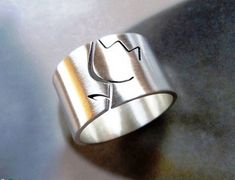 Tulip ring wide band floral jewelry statement minimalist
