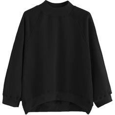 SheIn(sheinside) Black Raglan Sleeve Dip Hem Sweatshirt ($11) ❤ liked on Polyvore featuring tops, hoodies, sweatshirts, sweaters, blouses, shirts, black, raglan crewneck sweatshirt, raglan sweatshirt and long sleeve tops
