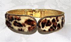 Vintage BSK CLAMPER BRACELET Faux Leopard Fur Fabric Awesome 1960s #BSK #Clamper