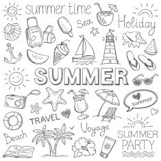 Summer Illustration Stock Vectors, Clipart and Illustrations , Doodle Art, Doodle Drawings, Easy Drawings, Pencil Drawings, Summer Drawings, Pencil Sketching, Sketch Notes, Bullet Journal Inspiration, Journal Ideas