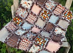 Cute and Warm Baby Boy Rag Quilt -Gray Brown and Orange Puppies Paws and Bones on Etsy, $65.00