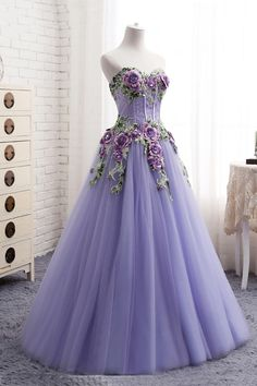 Sweetheart lavender tulle long 3D flower evening dress, senior prom dress