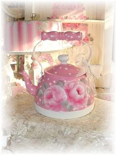 Wreathing fun, Misfitrosey Hand Painted Misfit Rose Cottage Home decor Vintage Shabby Chic Cottage Decor one of a kind wreaths and Romantic home decor All artwork by, Sheila Cottrell. Chic and a bit Shabby French Country, Romantic Vintage Tea Kettle, Vintage Coffee, Rosen Tee, Decoupage, Tee Set, Teapots And Cups, Teacups, My Cup Of Tea, Rose Cottage