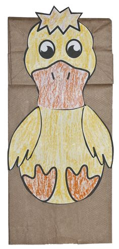 Free download pattern to make a duck paper bag puppet