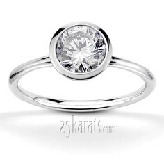 Bezel Set Round Center Solitaire Engagement Ring