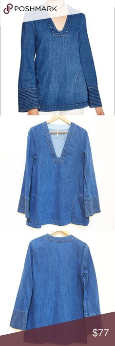 "Free people dream denim tunic NWT size M Free people dream denim tunic NWT size M. Color is Hendrix blue. Open neck, 2 front pockets. Yellow/gold stitching. Measurements: underarm to underarm 19"", length 31"". Great for any season. Free People Tops Tunics"
