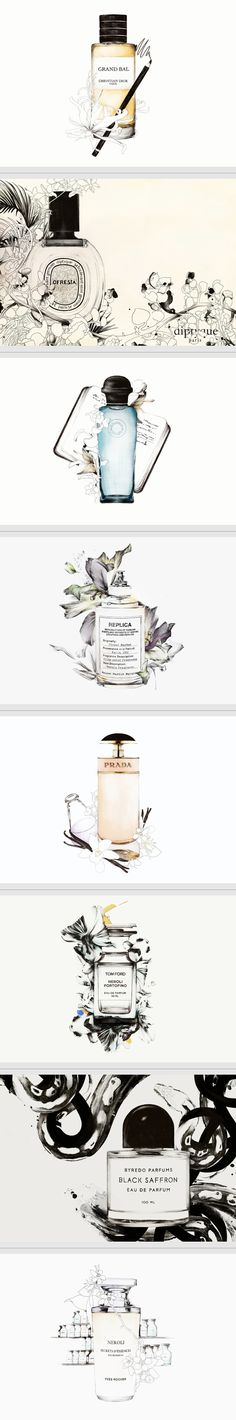 Scent Stories by Spiros Halaris Illustration & packaging smells lovely and popular too Beauty Packaging, Brand Packaging, Packaging Design, Branding Design, Web Design, Design Art, Print Design, House Design, Flyer Poster